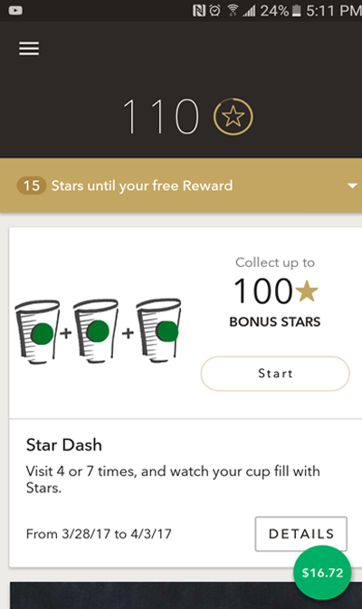 Starbucks Account Balance in Android Application